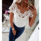 Sexy Low Cut V-neck Tshirt Women Lace Patchwork Off Shoulder Top Slim Fashion Summer 2019 T-shirt Female Tee Shirt Femme SJ2112M