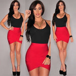 Sexy Patchwork Red Black Bandage Dress for Women Strappy Sleeveless Evening Summer Party Mini Dress