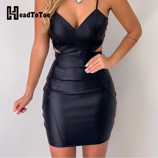 Sexy Pu Bodycon Dress Women's Spaghetti Sleeveless Summer Dress