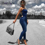 Sexy Sleeveless Backless Denim Jumpsuit Women Skinny Denim Pants Fashion Pockets Jeans women Casual Nightclub Bandage Overalls