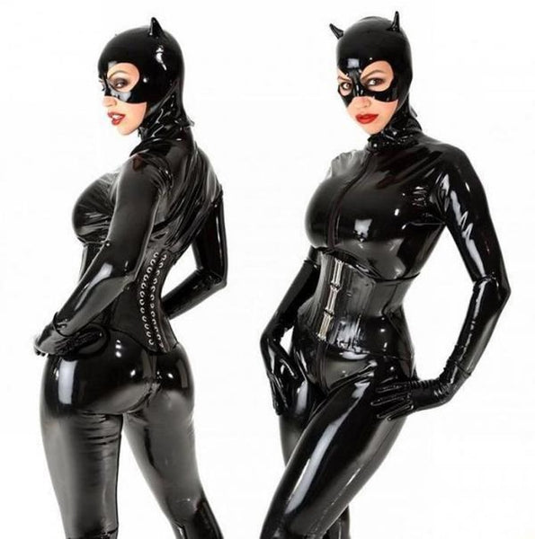 Sexy Catwoman Halloween Costume Black Faux Leather Catsuit Jumpsuit With Mask for Women