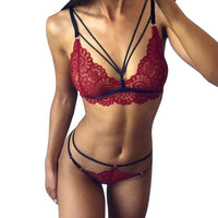 Sexy Women Lace Sissy Lingerie Bra Set Babydoll Underwear Push Up Bras Female Seamless Thong G String Set Pajamas Set CP
