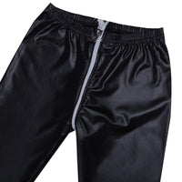 Sexy Women Wetlook Faux Leather Latex Pants Clubwear Slim Fit Leggings Zippered Open Crotch Ankle Length Stretchy Leggings Pants