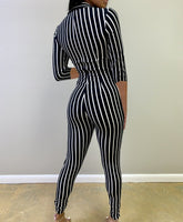 Sexy bodysuit tracksuit rompers womens jumpsuit long sleeve skinny striped print slim casual overalls combinaison femme