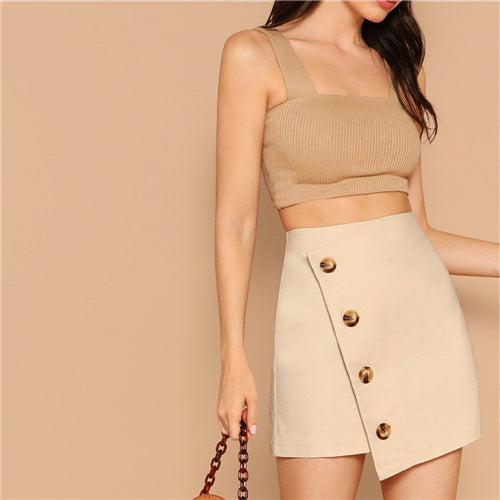 Sheinside Elegant Khaki Button Detail Wrap Skirt Women 2019 Summer Mid Waist Stretchy Skirt Ladies Solid A Line Mini Skirts