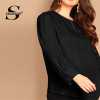 Sheinside Plus Size Elegant Cut Out Curved Hem Top Women 2019 Spring Casual Black Blouses Ladies Keyhole Back Button Blouse