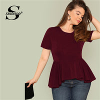 Sheinside Plus Size Ruffle Hem Womens Tops And Blouses 2019 Black Burgundy Stretch Solid Top Women Short Sleeve Summer Blouse