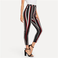 Sheinside Stretch Knit Striped Crop Pants Female Multicolor Elastic Waist Trousers for Women Elegant Skinny Pants and Capris