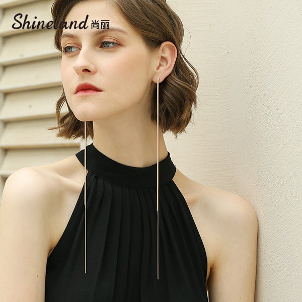 Shineland Super Long Chain Tassel Drop Earrings Women bijoux trendy Alloy Female Dangle Earring Fashion Jewelry Brincos
