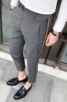 Side Tape Pant 2018 Mens Dress Pant Business Casual Office Trousers Ment Ankle Length Pantalon Homme Slim Fit Men Social Trouser