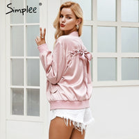 Simplee Elegant satin basic jacket coat Women lace up pocket biker jacket outerwear Autumn winter casual bomber jacket female