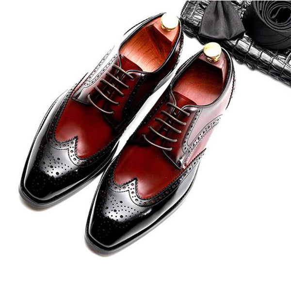 Sipriks Mens Full Brogue Shoes Classic Oxfords Imported Cow Leather Wing Tip Dress Shoes Business Formal Shoes Mixed Colors 2018