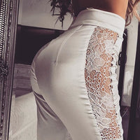 Solid Lace Spliced Hollow Transparent Casual Womens Pants Elastic High Waist Straight Trousers Woman Womens Winter Clothing 2018