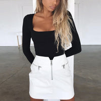 Solid Square-Neck Long Top Loose T-shirt Fashion Women's Long Sleeve korean tshirt chemise femme camiseta mujer streetwear