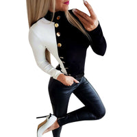 Spliced Slim Women's Winter Autumn Knitted Jumper Top Turtleneck