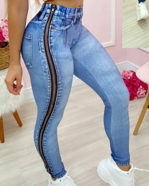 Women's Blue Jeans High Waist Side Zipper Sexy Denim Pants Trousers