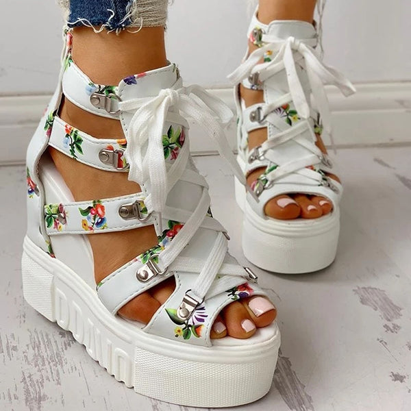 Women's Sandals High Heels Casual Ethnic Flower Floral Shoes