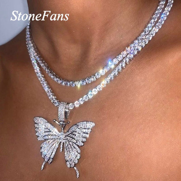 Big Butterfly Pendant Necklace Rhinestone Chain for Women Bling Chain Choker Jewelry