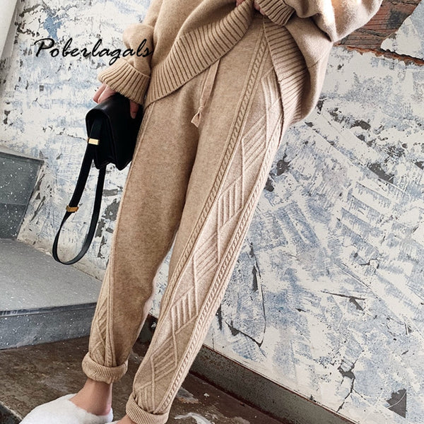 Streetwear Autumn Thick pant women trousers 2019 Autumn winter high waist loose drawstring elastic waist twist radish wool pants