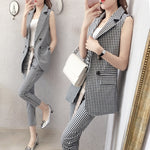 Suit female 2019 summer new women's two-piece Korean version of the sleeveless plaid suit jacket fashion slim nine pants
