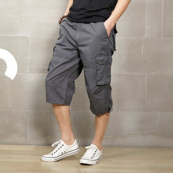 Summer 2018 Long Length Cargo Shorts Men Knee Pocket Casual Cotton Elastic Waist Bermudas Male Military Style Capri Breeche Army
