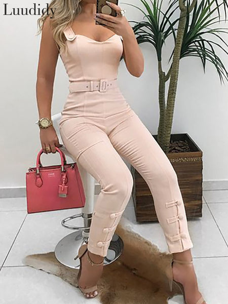 Summer Jumpsuit Button Design Skinny Bodycon Jumpsuit with Belt for Women