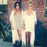 Summer Kimono Cardigan Women Girl Cover Up Sunscreen Chiffon Long Loose Blouse 2017 Tassel Beach Cardigans Femme Black White