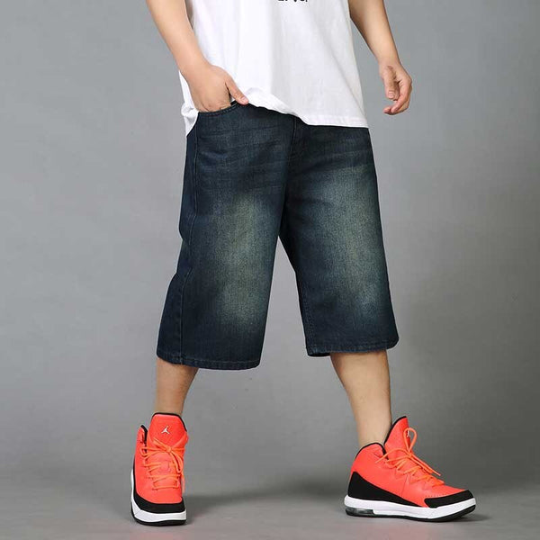 Summer  Loose Baggy Denim Short Men Hip Hip Jeans Short 3/4 Length Boardshort Male Clothing Blue Plus Size 46