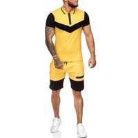 Summer Men's Short Sleeves T shirt  + Casual Shorts 2 Pieces Set