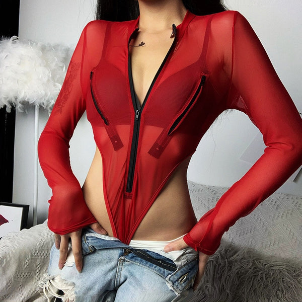 Summer Women's Sexy Mesh See Through Bodycon Bodysuits with Zipper Split Long Sleeves