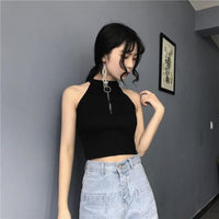 Summer Womens Legging Tops Sexy Off-shoulder Sleeveless Women's Vest Solid Color Black White Tops For Women Elegant Wears A137