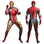 Superhero Iron Man Suit Halloween Costume Adults Unisex One-Piece Spandex Jumpsuit With Mask for Men