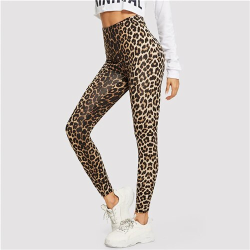 SweatyRocks High Waist Leopard Print Leggings Active Wear Women Fitness Skinny Leggings 2019 Spring Fashion Athleisure Leggings
