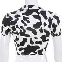 Sweetown Animal Print Kawaii Cropped Feminino Tshirt Women Korean Style V-Neck Cow T-Shirts Short Sleeve Hollow Sexy Summer Tops