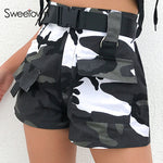 Sweetown Casual Camouflage Cargo Shorts Women Summer 2019 Chic Belt With Buckle Pockets Design Zipper High Waist Straight Shorts