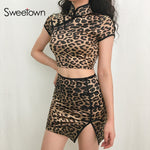 Sweetown Leopard Animal Print Skirt And Top Set Chinese Style Vintage Sexy Bodycon Two Piece Set Outfit Crop Top Women Tracksuit