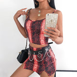 Sweetown Snake Print Knitted Tracksuit Women Sexy Two Piece Skirt Set NewArrival Summer 2019 Crop Top And Skirt Set Beach Outfit