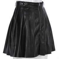 Sweetown Steampunk Gothic PU Leather Skirt Streetwear Korean Style Women High Waisted Skirt Summer 2019 Zipper Pleated Skirts