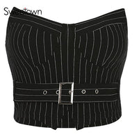 Sweetown Vertical Striped Streetwear Bralette Crop Top With Sashes Strapless Sexy Tank Tops Women Summer 2019 Holiday Clothes