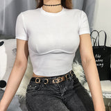 Sweetown White Slim Sexy Cropped T Shirt Streetwear Women Short Sleeve Crewneck Tshirt Basic Vogue Crop Top T-Shirt Womens Tops