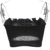 Sweetown Women Black Crop Top 2018 Sexy Lingerie Fashion Solid Hollow Out