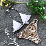 Swimsuit summer new sexy Women bikini set bandage brazilian silver and gold swimwear