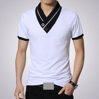 T Shirts Men V Neck T-Shirt Brand Cotton Mens Patchwork tshirt  Size Man Tees Tops Wholesale Free Shipping M40