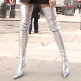 THEMOST Latest Fashion Shoes Autumn Winter Flora Printed Lycra Stretch Pull on Over the Knee High Heel Boots for women