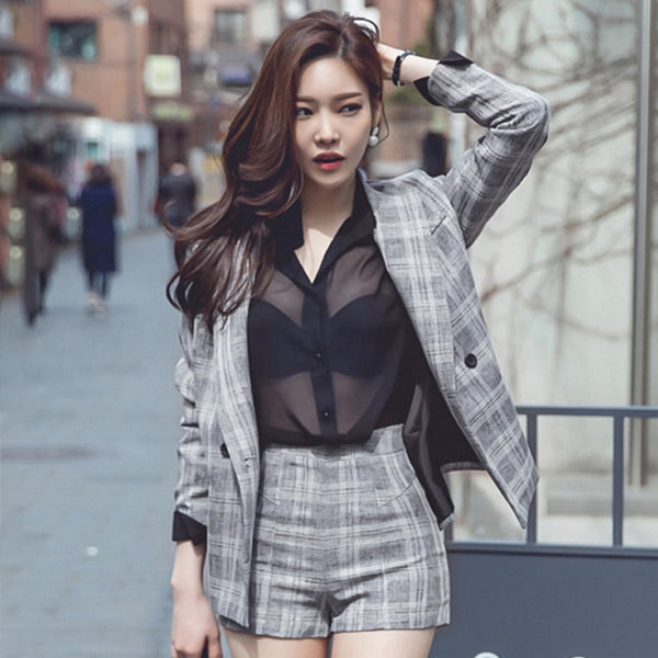 Taotrees Plaid Notched Blazers with Shorts Womens Two Piece Sets Elegant Jacket Short Pant 2 Piece Female Set