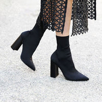 Teahoo Slim Stretch Ankle Boots for Women Pointed Toe Sock Boots Square High Heel Boots Shoes Woman Fashion Bota Feminina