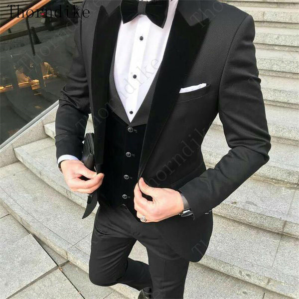 Thorndike Formal Men Suits Dark Green 2020 Slim Fit Velvet Lapel Groom Buniversestyle