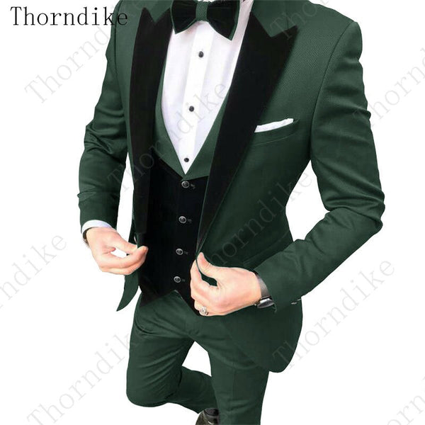 Thorndike Formal Men Suits Dark Green 2020 Slim Fit Velvet Lapel Groom Suit Men's Tuxedo Blazer Wedding/Prom Suits 3 Pieces