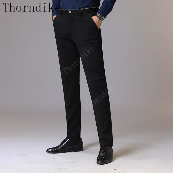 Thorndike Men Clothes 2018 Autumn New Men's Stretch Casual Black Pants Business Fashion Solid Color Cotton Trousers Male Brand