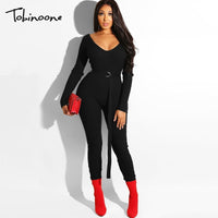 Tobinoone Long Sleeve Rompers Women Sweater Jumpsuits Knitting Black Deep V-Neck Femme Monos Cortos De Mujer Bodycon Rompers